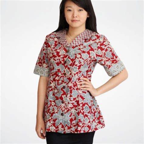 Blouse Batik Kerja Wanita 2 model baju blus batik kantor lengan pendek model busana models and modern