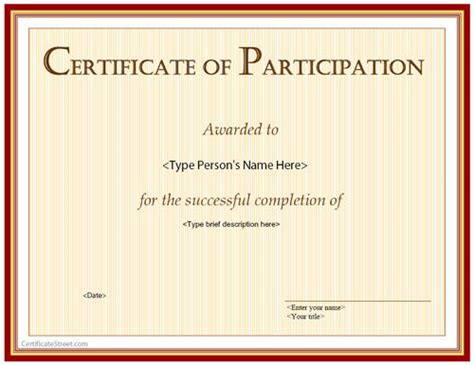 free certificate of participation template 40 best business certificates templates awards images