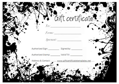 Black splashes gift certificate template