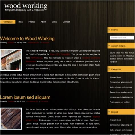 free woodworking templates woodworking free website templates in css html js format