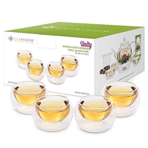 teabloom 4 double wall glass cups 3 4 oz 100 ml heat