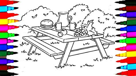 Colours For Picnic Table Coloring Pages L How To Draw
