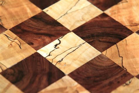 The Woodcrafter Black Walnut And Spalted Maple Chessboard