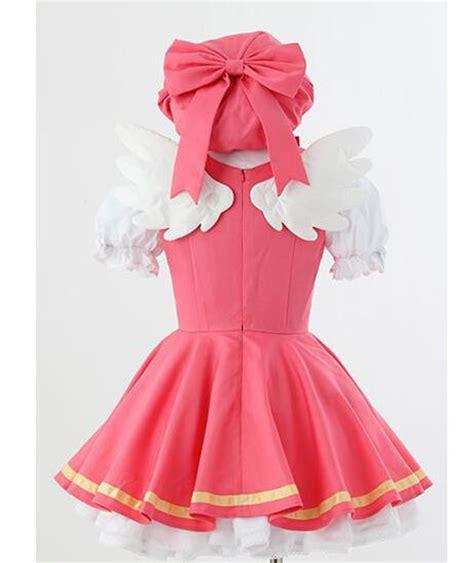 Costume Cardcaptor Kinomoto Pink Import cardcaptor kinomoto costume magical pink dress hat wings costume