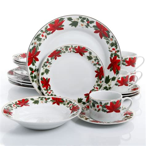 gibson home poinsettia holiday 20 piece dinnerware set