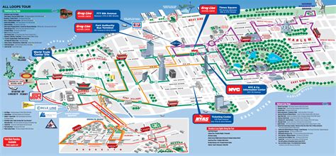map of nyc with attractions maps update 30001102 tourist map of new york city map