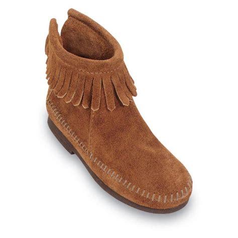 minnetonka moccasins boots minnetonka childrens back zipper moccasin boots