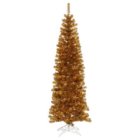 6 Foot Antique Gold Slim Christmas Tree All Lit Lights Gold Tree Lights