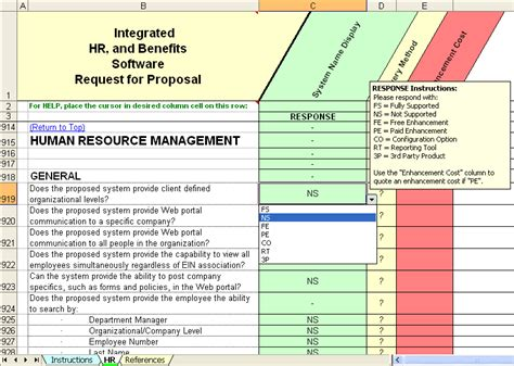 Selection Matrix Models Rfp Sles Rfp Templates Hris Requirements Template