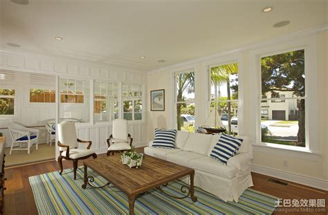 living room beach house living room ideas with fish 现代田园风格装修样板房 土巴兔装修效果图