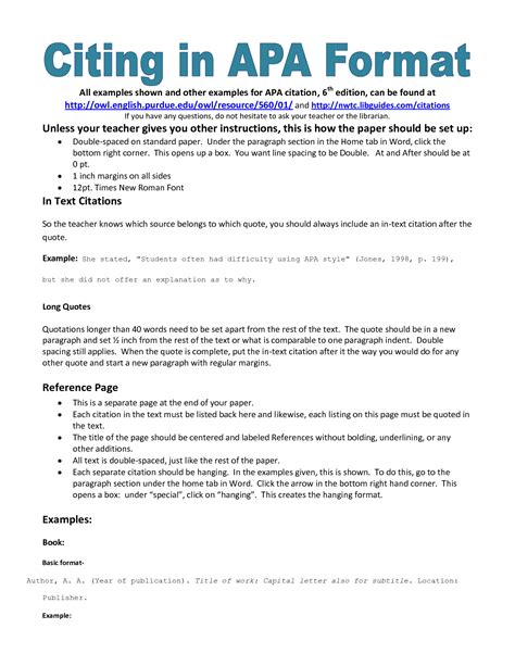 exle of apa citation in paper apa citation handout