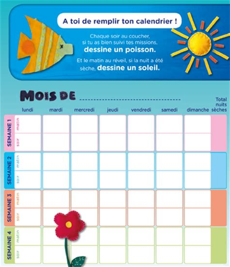Calendrier Pipi Au Lit by Calendrier Enuresie A Imprimer
