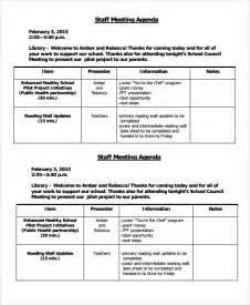 agenda for staff meeting template sle staff meeting agenda 6 documents in pdf