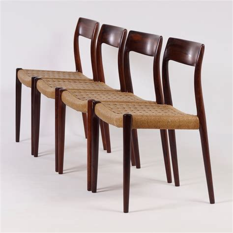 Rosewood Dining Chairs Vintage Rosewood Dining Chairs Model 77 By Niels Moller 1960s Set Of 4 Ztijl