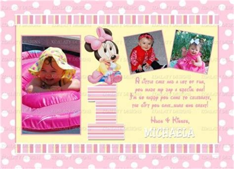 Baby Minnie Mouse Thank You Photo Cards printable minnie mouse 1st birthday thank you cards