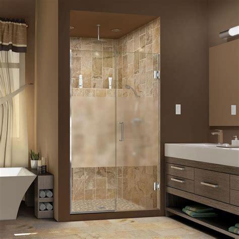 Half Glass Shower Door Dreamline Unidoor Plus 60 To 60 1 2 In X 72 In Semi Framed Hinged Shower Door With Half