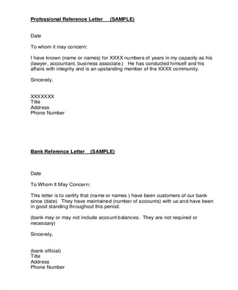 Reference Letter Format For Bank Account Opening 14 Professional Reference Letter Template Free Sle Exle Format Free Premium Templates