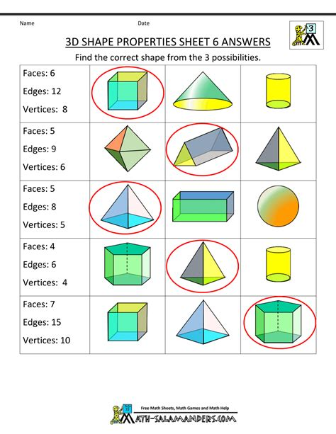 Identifying Faces Edges And Vertices Worksheet by 3d Shapes Worksheets