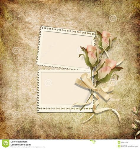 Vintage Background With Stamp frames And Roses Stock