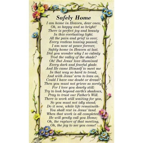 safely home personalized prayer card priced per card