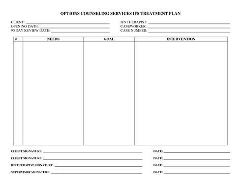 mental health treatment plan template template