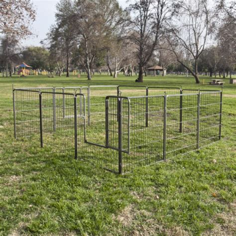 portable backyard fence 2 dog fence barrier metal gate enclosed yard area outdoor