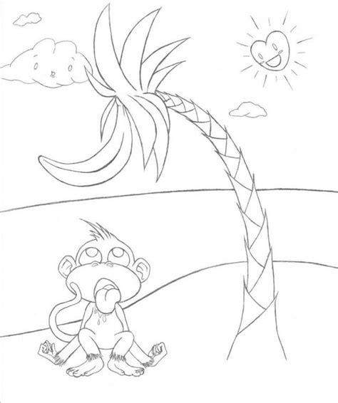 Easier Banana Tree Outline By Monkehranch Dhzoo Wallpaper Banana Tree Coloring Page