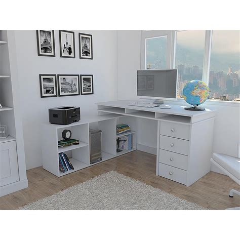 houston white l shaped corner desk with 4 drawers elb2603