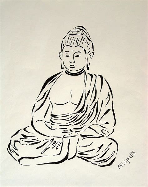 Minimalist Home Tour by Buddha In Black And White Painting By Pamela Allegretto