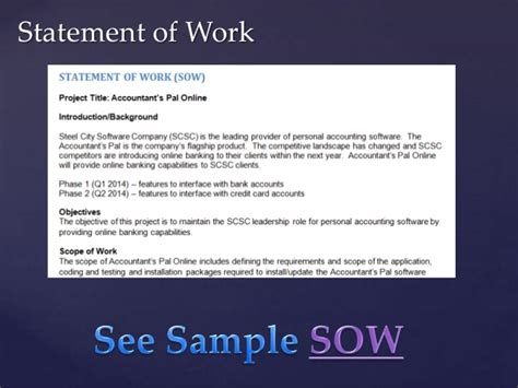 project management statement of work template project management class based on pmbok day 3
