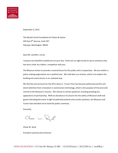 Response To Letter K National Building Museum Response To The Corrie S Letter Corrie Foundation