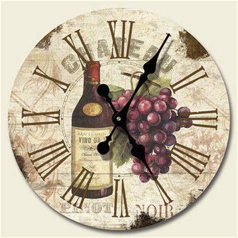 new grapes wine wall clock kitchen tuscany decor