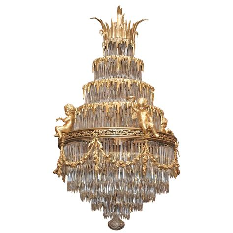 Antique Glass Chandeliers Antique Baccarat Waterfall Chandelier At 1stdibs