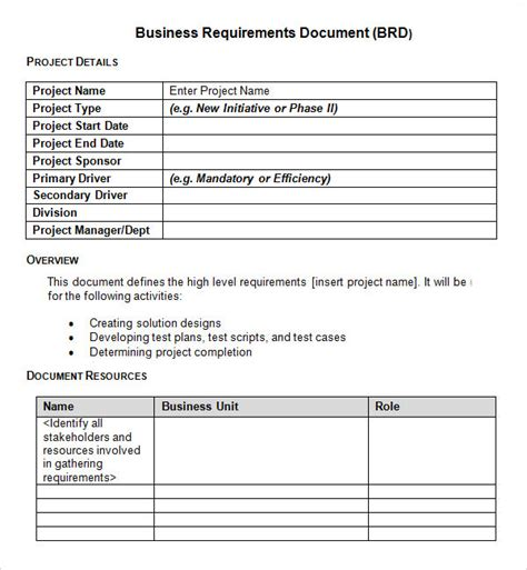 Project Requirements Template Excel by Sle Business Requirements Document 6 Free Documents