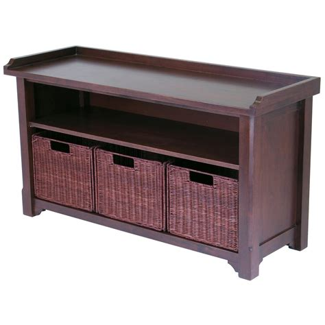 winsome bench winsome 174 storage bench with baskets 151439 living room at sportsman s guide