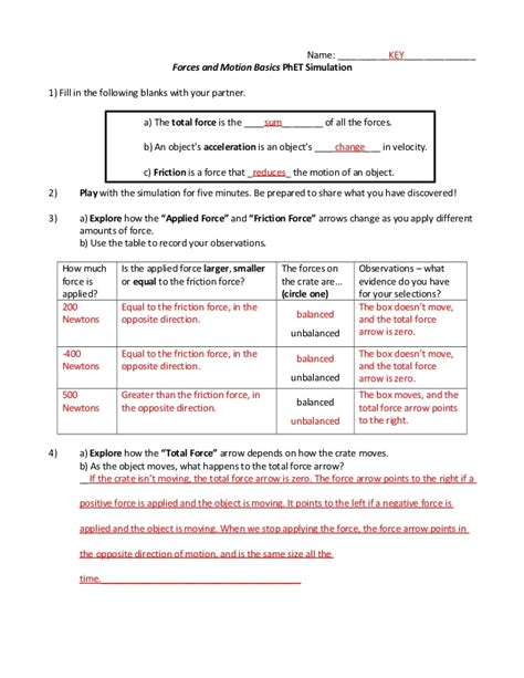 Physical Science Motion And Forces Worksheet Answers by Forces And Motion Scripted