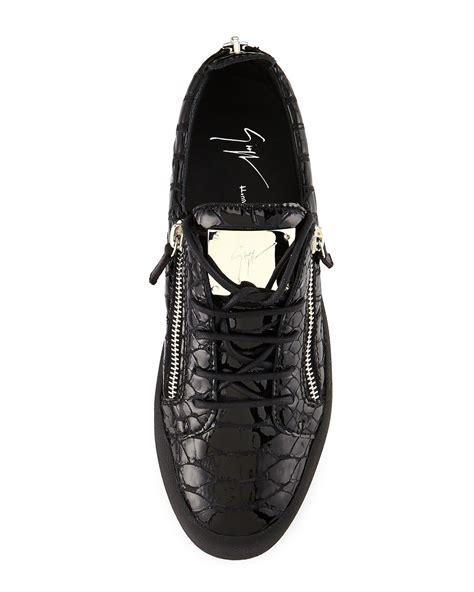 giuseppe zanotti mens shoes lyst giuseppe zanotti crocodile embossed low top
