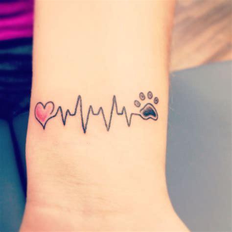 dog paw tattoo on wrist heartbeat paw on wrist dogs puppy