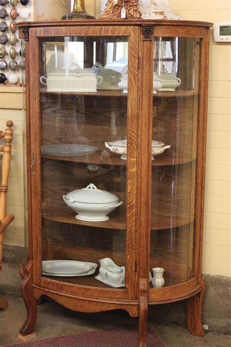 When Should You Refinish an Antique?  two Oak Curved Glass China Display Cabinets   Work, Play