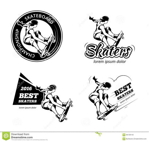 vintage skateboarding labels logos and badges vector set