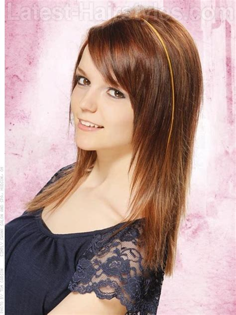 long layers tapered to face haircut tapered straight hair from another angle bangs layered