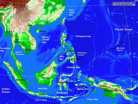 asia sea map southeast asia physical map a learning family