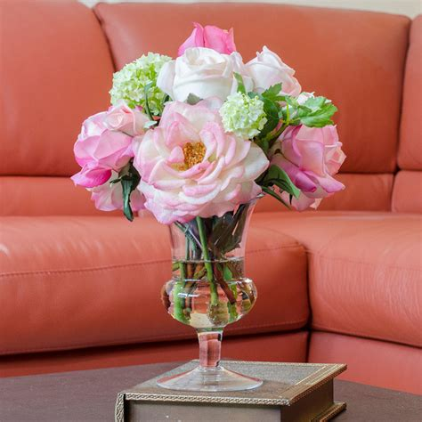 Flower Arrangements In Glass Vases by Real Touch Orlane Bud Cabbage Glass Vase Artificial