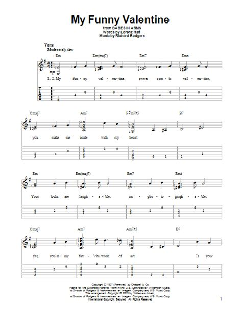 my funny valentine guitar tab by richard rodgers guitar