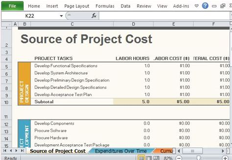 project cost template free project budget template for excel 2013
