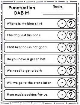 free printable question mark worksheets dab it activities punctuation question mark