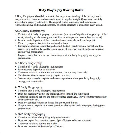 biography writing template for students sle biography 6 exle format