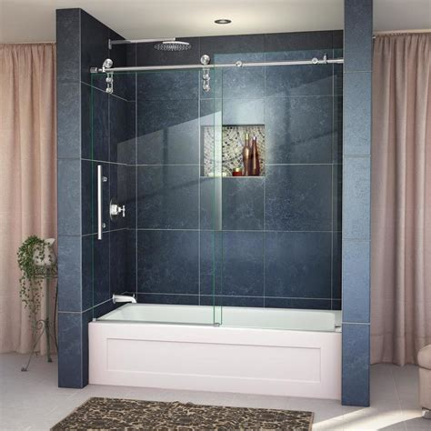 Shower Bathtub Doors Shop Dreamline Enigma Z 56 In To 59 In Frameless Polished Stainless Steel Sliding Shower Door At