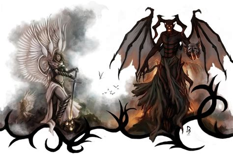 angels and demons tattoo design by theechodragon on