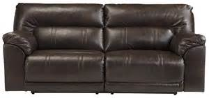 faux leather 2 seat reclining sofa by benchcraft wolf